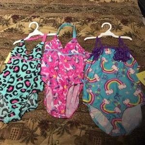 Bundle: 3 new 9/10 small, girls bathing suits!